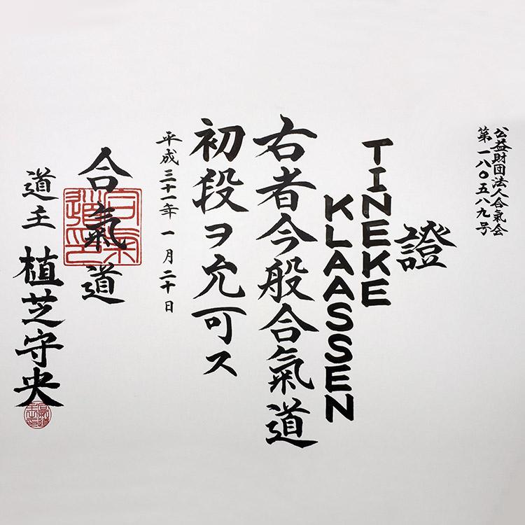 Aikikai Aikido Shodan diploma